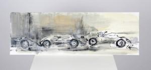 Das Rennen       90× 30cm         240,- Auf diesem Bild bremst der Fahrer in dem vorderen Wagen die hinteren Fahrer ein. Farbe schwarz weiß ,Sand und Ockertöne auf Leinwand.
